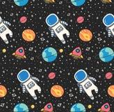 宇航员在kawaii样式传染媒介的空间无缝的背景中 向量例证