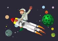宇航员坐在空间的火箭飞行 免版税图库摄影