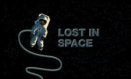 宇航员外层空间 丢失在空间 平的概念例证 库存例证