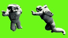 宇航员推挤一担子 在绿色屏幕背景的使成环的动画 4K 库存例证