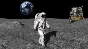 宇航员月亮走 CG动画 向量例证