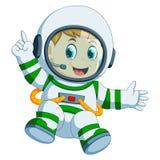 宇航员服装的愉快的男孩 库存例证