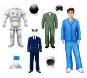 宇航员男孩集合 免版税图库摄影