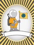宇航员空白明亮的标签卵形产品向量 皇族释放例证