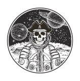 宇航员空间海盗传染媒介现代T恤杉设计模板 库存例证