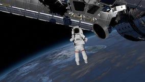 宇航员空间行走,摇他的在露天场所的手 旋转在地球大气的国际空间站ISS 要素 皇族释放例证