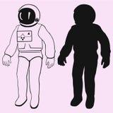 宇航员被隔绝的传染媒介剪影 免版税库存图片