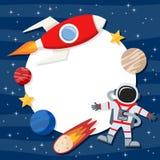 宇航员&太空火箭照片框架 免版税图库摄影