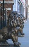 守卫入口的狮子 免版税库存照片