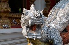 守卫入口的神话蜥蜴对佛教寺庙 库存图片