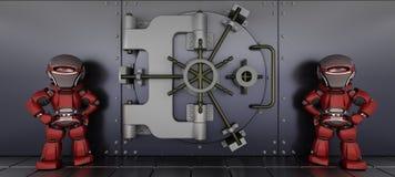 守卫机器人穹顶的银行 免版税库存照片