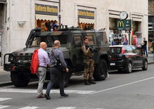 守卫梵蒂冈的军事和警察 库存照片
