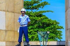 守卫永恒火焰的巴西人空军队仪仗队在国家历史文物对二战的,里约热内卢死者 免版税图库摄影