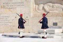 守卫议会,雅典的Evzone 免版税库存照片