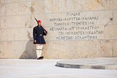守卫议会,雅典的Evzone 免版税图库摄影