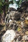 守卫门,成田圣日本之神道教籍寺庙的狮子 库存图片