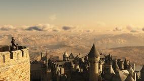 守卫骑士的城垛孤零零 免版税库存照片