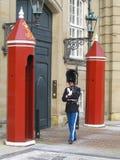 守卫Amalienborg城堡的皇家卫兵在哥本哈根,丹麦 免版税库存图片