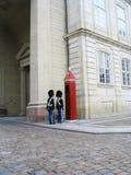 守卫Amalienborg城堡的皇家卫兵在哥本哈根,丹麦 免版税库存照片