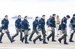 守卫Ohi天游行的古希腊警察 库存照片