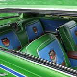 守旧派绿色在古董车的汽车座位在车展在俄勒冈市 库存图片