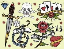 守旧派葡萄酒减速火箭的纹身花刺墨水艺术样式手拉的刺字的标志传统图解图画传染媒介 库存图片