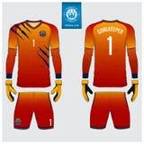 守门员球衣或足球成套工具,长的袖子球衣,守门员手套模板设计 T恤杉嘲笑 前面,后面看法制服 库存例证