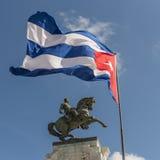 安东尼奥马塞奥哈瓦那和古巴旗子的纪念碑 免版税库存照片