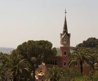 安东尼Gaudi建筑杰作在Guell公园吸引 免版税库存照片