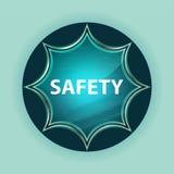 安全不可思议的玻璃状旭日形首饰蓝色按钮天蓝色背景 免版税库存图片