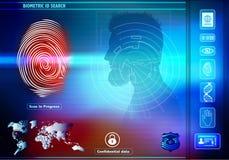 安全与人的生物统计的证明的数据存取 与人的背景与红色指纹的剪影外形的 库存例证