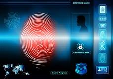 安全与人的生物统计的证明的数据存取 与人的背景与红色指纹的剪影外形的 皇族释放例证