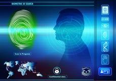 安全与人的生物统计的证明的数据存取 与人的背景与绿色指纹的剪影外形的 向量例证