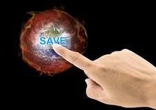 安全世界概念 手指新闻按钮热的世界球 免版税库存图片