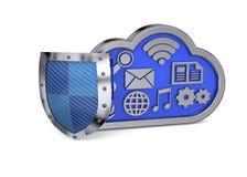 安全云彩概念- 3D 免版税库存图片