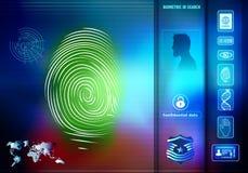 安全人的生物统计的证明的数据存取 与人的背景与绿色指纹的剪影外形的 向量例证