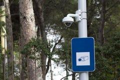 安全凸轮在一个公园 免版税图库摄影