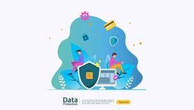 安全和机要数据保护 VPN互联网安全 交通加密与人的个人隐私概念 向量例证