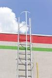 安全对屋顶的金属梯子 库存图片