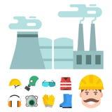 安全工业齿轮用工具加工平的传染媒介例证身体保护工作者设备工厂工程师衣物 免版税图库摄影