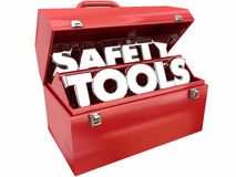 安全工具防止伤害事故工具箱 免版税库存照片