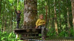 安全带攀登的两个小男孩在一条路线在森林冒险公园 他们在高绳索足迹上升 ?? 股票录像