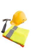 安全帽、锤子和反射性背心II 库存照片