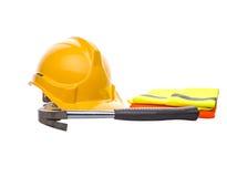 安全帽、锤子和反射性背心III 库存图片