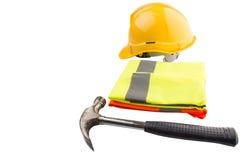 安全帽、锤子和反射性背心IV 免版税图库摄影