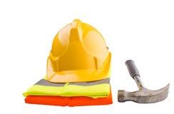 安全帽、锤子和反射性背心VI 免版税图库摄影