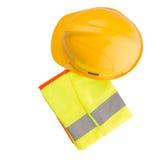 安全帽和反射性背心v 免版税库存照片