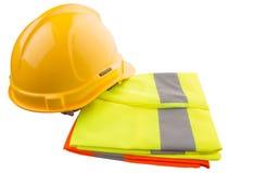 安全帽和反射性背心x 免版税库存图片