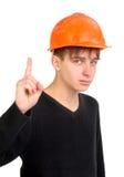 安全帽少年 库存图片