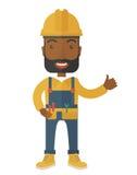 戴安全帽的一位愉快的木匠的例证 免版税图库摄影